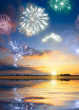 Vuurwerk in een hemel Stock Afbeelding