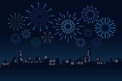 Vuurwerk en Cityscape de Bouw in Vector de Illustratieontwerp van de nachtscène stock illustratie