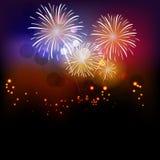 Vuurwerk en Gelukkig Nieuwjaar Royalty-vrije Stock Afbeelding