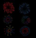 Vuurwerk en Gelukkig Nieuwjaar Stock Afbeeldingen