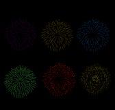 Vuurwerk en Gelukkig Nieuwjaar Stock Foto's