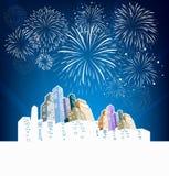 Vuurwerk en Gelukkig Nieuwjaar Royalty-vrije Stock Foto