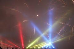 Vuurwerk en lichten Stock Afbeeldingen