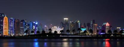 Vuurwerk en Nachtfotografie Qatar Royalty-vrije Stock Afbeeldingen