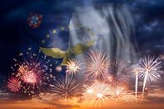 Vuurwerk en vlag van de Azoren stock fotografie
