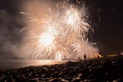 Vuurwerk in festival in Brighton Stock Foto's