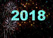 2018 vuurwerk Gelukkig Nieuwjaar Royalty-vrije Stock Afbeelding