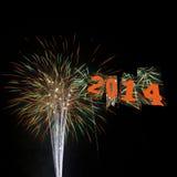 Vuurwerk Gelukkig Nieuwjaar 2014 Stock Afbeeldingen