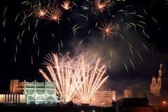 Vuurwerk in Grodno Wit-Rusland stock afbeelding