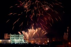 Vuurwerk in Grodno Wit-Rusland stock foto's
