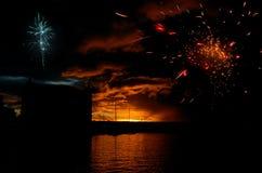 Vuurwerk in Haven Louis Royalty-vrije Stock Afbeeldingen