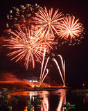 Vuurwerk in haven van Lampedusa royalty-vrije stock afbeelding