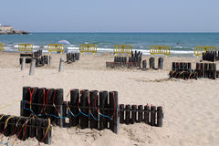 Vuurwerk in het strand Stock Fotografie