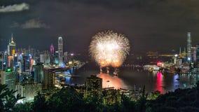 Vuurwerk in Hong Kong, 2016 Stock Afbeeldingen