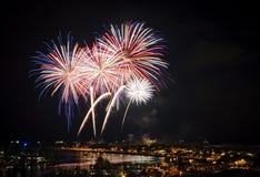 Vuurwerk in Honolulu 4 Juli stock afbeelding