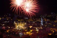 Vuurwerk 14 Juli in Frankrijk Stock Foto