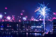Vuurwerk in Kopenhagen Royalty-vrije Stock Foto's
