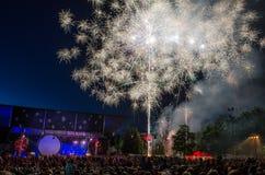 Vuurwerk in Kuldiga Royalty-vrije Stock Afbeeldingen