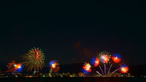 Vuurwerk in meer Biwa, Otsu, Shiga, Japan Royalty-vrije Stock Afbeeldingen