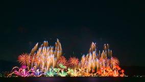 Vuurwerk in meer Biwa, Otsu, Shiga, Japan Royalty-vrije Stock Afbeelding