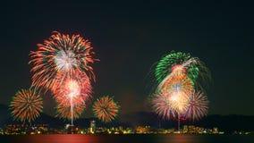 Vuurwerk in meer Biwa, Otsu, Shiga, Japan Stock Foto