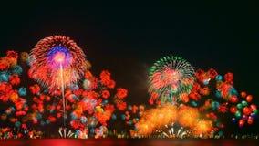 Vuurwerk in meer Biwa, Otsu, Shiga, Japan Stock Afbeeldingen