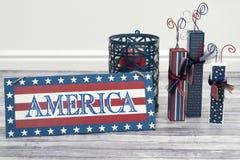 Vuurwerk met Amerika Stock Afbeeldingen