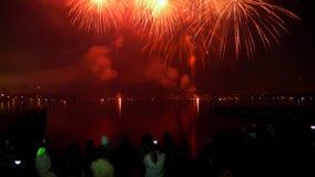 Vuurwerk in nachthemel Royalty-vrije Stock Foto