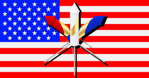 Vuurwerk op Amerikaanse vlag Royalty-vrije Stock Foto's