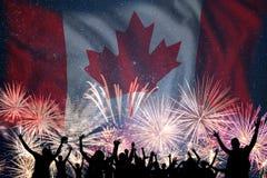 Vuurwerk op dag van Canada stock afbeeldingen