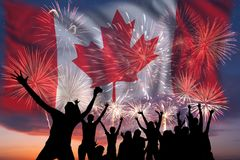Vuurwerk op dag van Canada royalty-vrije stock afbeelding