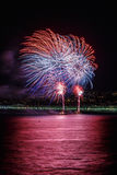Vuurwerk op Dagvieringen 14 Juli in Nice Stock Fotografie