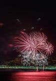 Vuurwerk op Dagvieringen 14 Juli in Nice Royalty-vrije Stock Foto