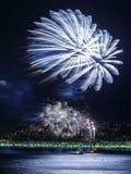 Vuurwerk op Dagvieringen 14 Juli in Nice Royalty-vrije Stock Afbeeldingen
