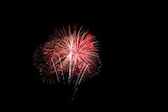 Vuurwerk op de donkere hemelachtergrond Stock Foto