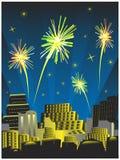 Vuurwerk op de hemel Royalty-vrije Stock Foto