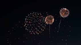 Vuurwerk op de vakantie van de stadsdag, grote uitbarstingen van begroeting stock fotografie