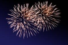 Vuurwerk op donkere achtergrond stock foto