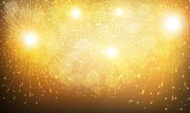 Vuurwerk op een gouden achtergrond Stock Foto