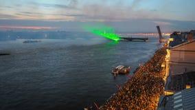 Vuurwerk op het Feest van Scharlaken Zeilen stock videobeelden