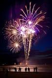 Vuurwerk op het strand Stock Foto