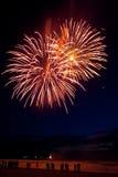 Vuurwerk op het strand Stock Afbeeldingen