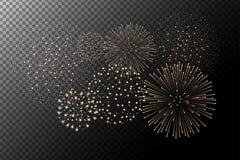 Vuurwerk op transparante achtergrond Het concept van de onafhankelijkheidsdag Feestelijke en vakantieachtergrond vector illustratie