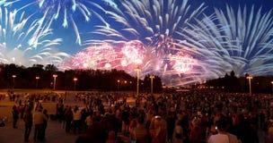 Vuurwerk op Victory Day, Moskou, Russische Federatie Stock Foto