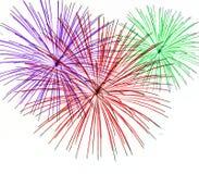 Vuurwerk op Witte Achtergrond Royalty-vrije Stock Afbeeldingen