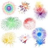 Vuurwerk op witte achtergrond Royalty-vrije Stock Afbeelding