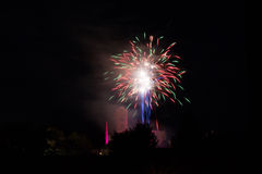 Vuurwerk over de Loretto-Kerk Stock Foto's