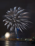Vuurwerk over de stad Stock Foto
