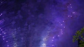 Vuurwerk over de TV-toren, Moskou, Rusland stock footage