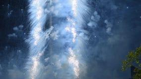 Vuurwerk over de TV-toren, Moskou, Rusland stock videobeelden